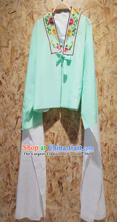 Professional Chinese Beijing Opera Costumes Ancient Peking Opera Actress Embroidered Water Sleeve Green Blouse for Adults