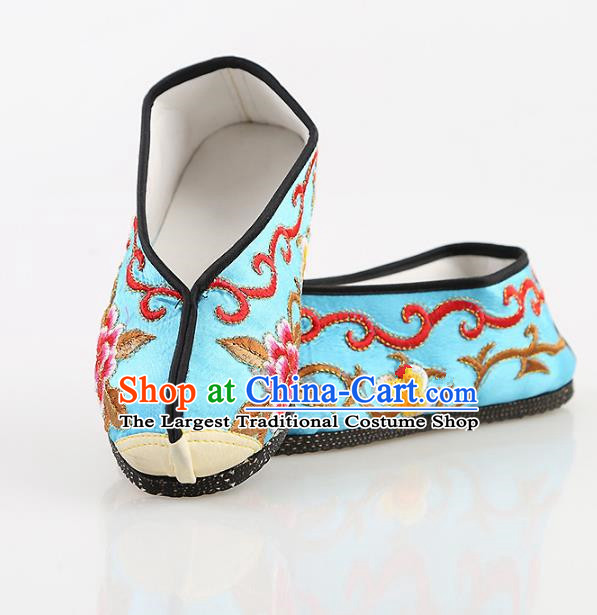Chinese Traditional Beijing Opera Embroidered Shoes Peking Opera Diva Blue Cloth Shoes for Women