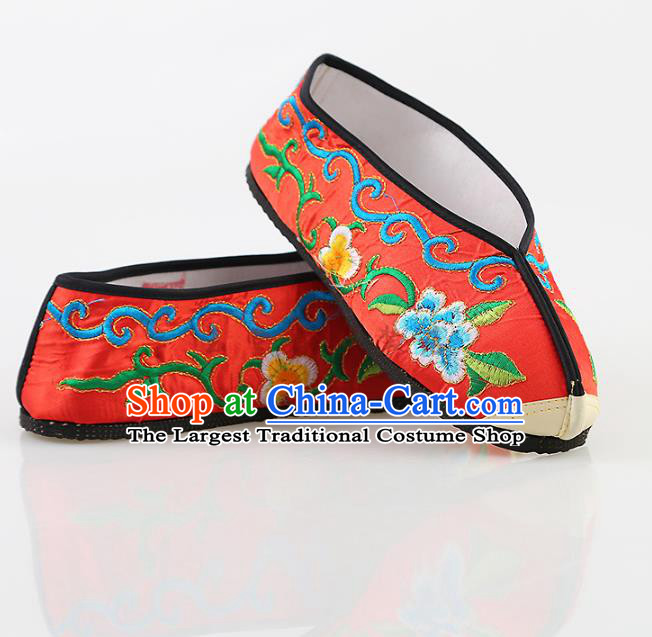 Chinese Traditional Beijing Opera Embroidered Shoes Peking Opera Diva Red Cloth Shoes for Women