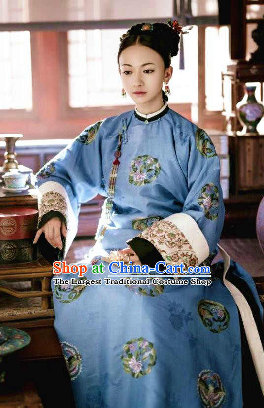 Story of Yanxi Palace Chinese Qing Dynasty Imperial Consort Ling Embroidered Costumes and Headpiece Complete Set