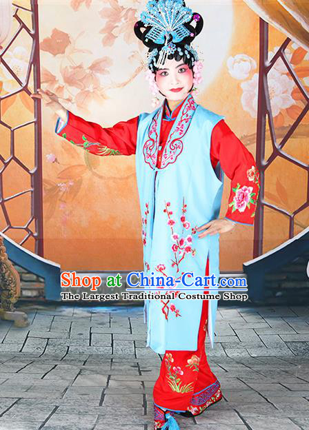 Professional Chinese Beijing Opera Maidservants Embroidered Plum Blossom Blue Costumes for Adults