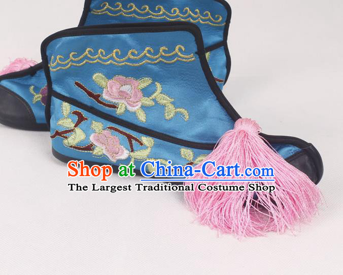 Chinese Traditional Beijing Opera Embroidered Boots Peking Opera Blues Blue Cloth Shoes for Women