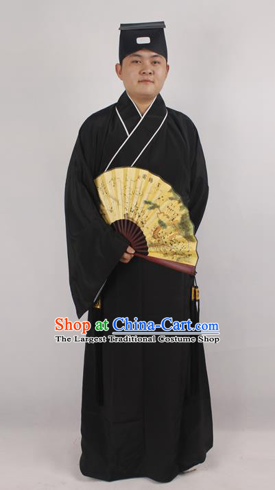 Professional Chinese Peking Opera Niche Costume Beijing Opera Scholar Black Robe and Hat for Adults