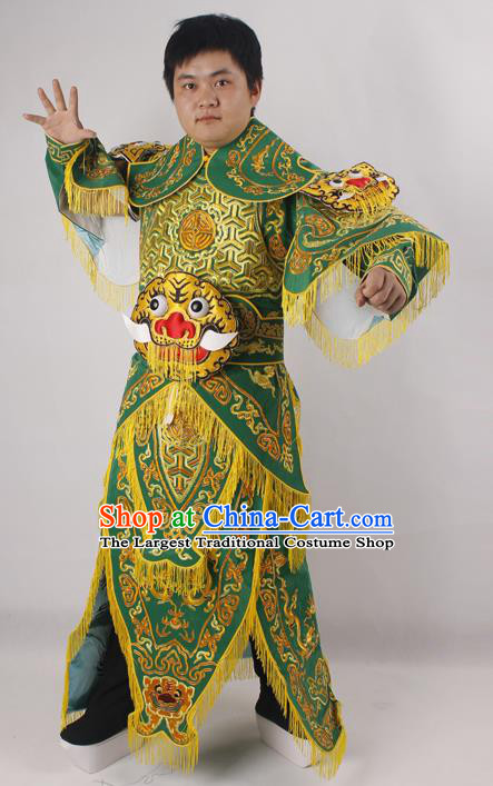 Professional Chinese Peking Opera General Green Embroidered Costume Beijing Opera Takefu Clothing for Adults