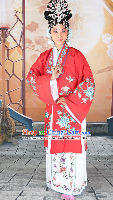 fc31e2300 Professional Chinese Beijing Opera Actress Embroidered Peony Red Costumes  for Adults