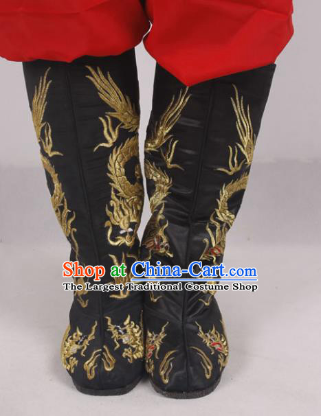 Chinese Traditional Beijing Opera Embroidered Dragons Boots Peking Opera Niche Cloth Shoes for Men