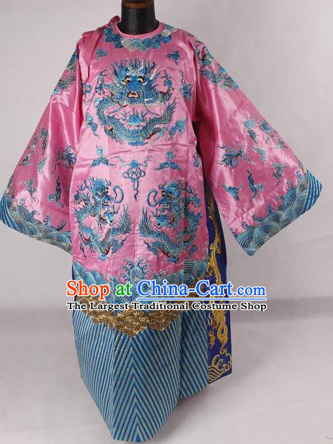 Professional Chinese Peking Opera Old Men Costume Prime Minister Pink Embroidered Robe for Adults
