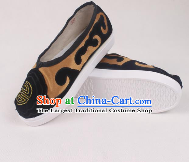 Chinese Traditional Beijing Opera Ministry Councillor Embroidered Shoes Peking Opera Brown Shoes for Men