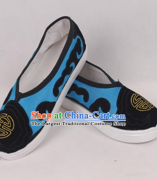 Chinese Traditional Beijing Opera Ministry Councillor Embroidered Shoes Peking Opera Blue Shoes for Men