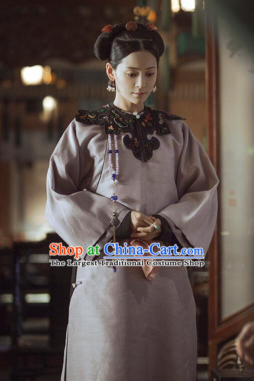 Chinese Ancient Drama Story of Yanxi Palace Qing Dynasty Manchu Imperial Consort Embroidered Costumes and Headpiece Complete Set