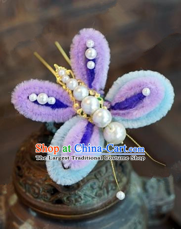 Top Grade Chinese Handmade Hair Accessories Qing Dynasty Velvet Butterfly Hairpins for Women