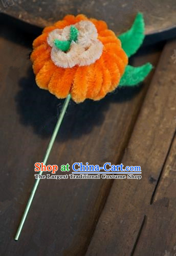 Top Grade Chinese Handmade Hair Accessories Qing Dynasty Velvet Pumpkin Hairpins for Women