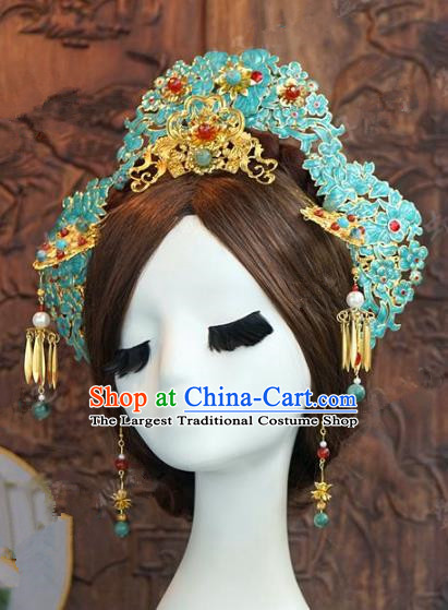 Chinese Handmade Ancient Wedding Hair Accessories Phoenix Coronet Tassel Hairpins Complete Set for Women