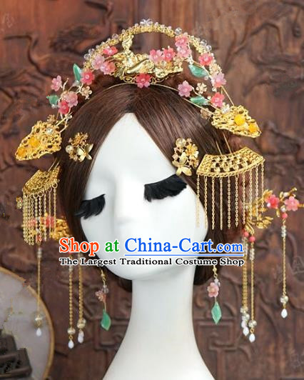 Chinese Handmade Ancient Wedding Hair Accessories Bride Phoenix Coronet Hairpins Complete Set for Women