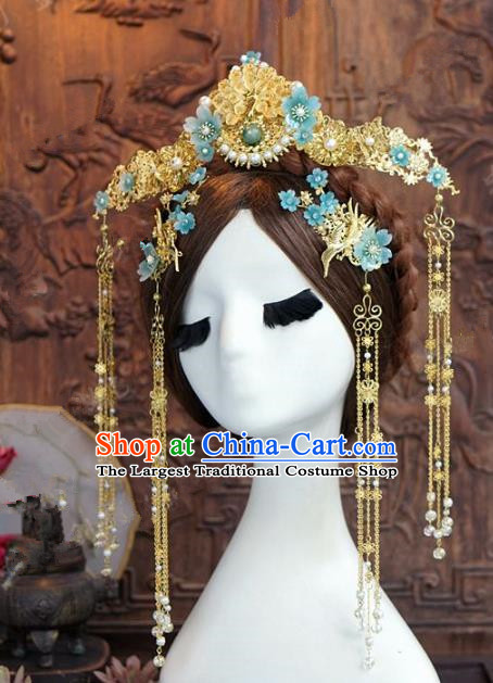Chinese Handmade Wedding Hair Accessories Ancient Bride Blue Flowers Phoenix Coronet Hairpins Complete Set for Women