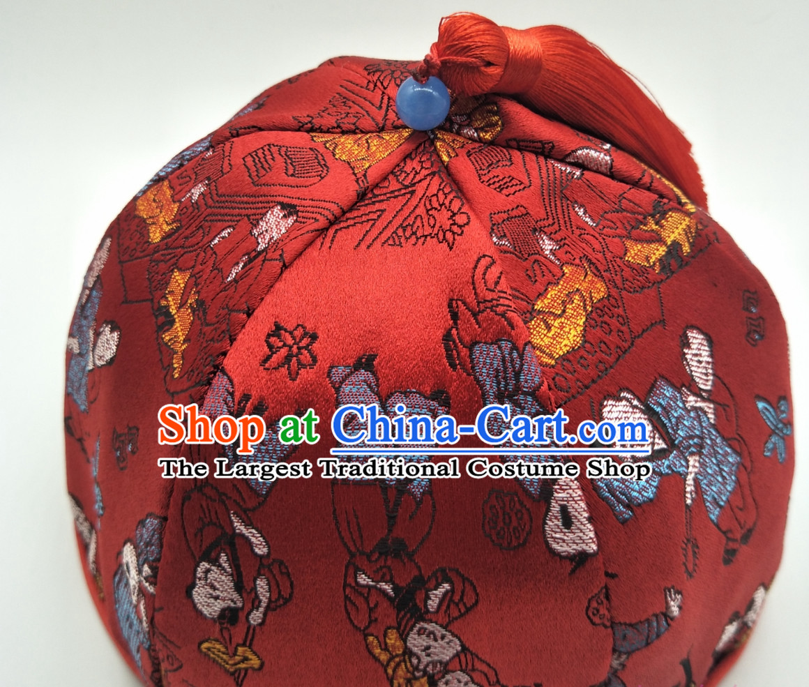 Chinese Classical Handmade Hat Birthday Hat for Kids Children Hats Ceremonial Hat for Boys Infants