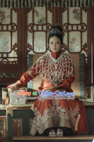 Drama Story of Yanxi Palace Chinese Ancient Qing Dynasty Imperial Consort Gao Embroidered Costumes and Headpiece for Women