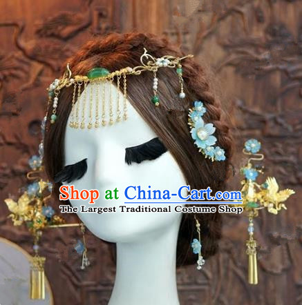 Chinese Handmade Wedding Hair Accessories Ancient Bride Tassel Hairpins Complete Set for Women
