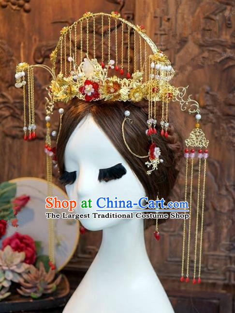 Chinese Handmade Wedding Phoenix Coronet Hair Accessories Ancient Bride Hairpins Complete Set for Women
