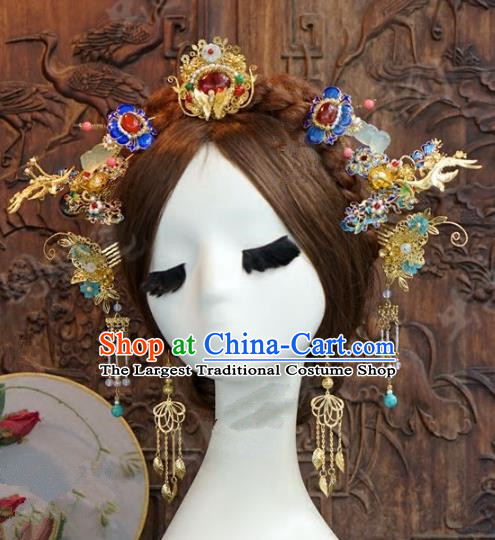 Chinese Handmade Wedding Blueing Hair Clip Hair Accessories Ancient Tassel Hairpins Complete Set for Women