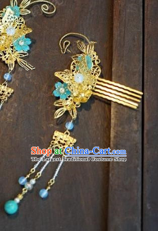 Chinese Handmade Ancient Hair Accessories Ancient Hanfu Butterfly Hair Comb Hairpins for Women