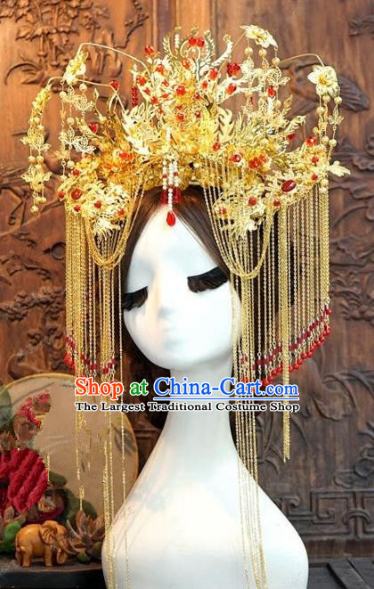 Chinese Ancient Handmade Phoenix Coronet Hanfu Hairpins Wedding Hair Accessories Complete Set for Women