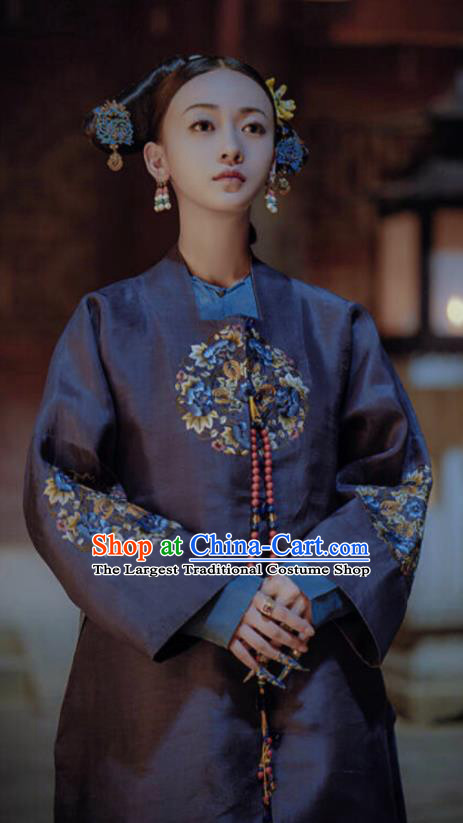 Story of Yanxi Palace Ancient Chinese Qing Dynasty Imperial Noble Consort Embroidered Costumes and Headpiece for Women
