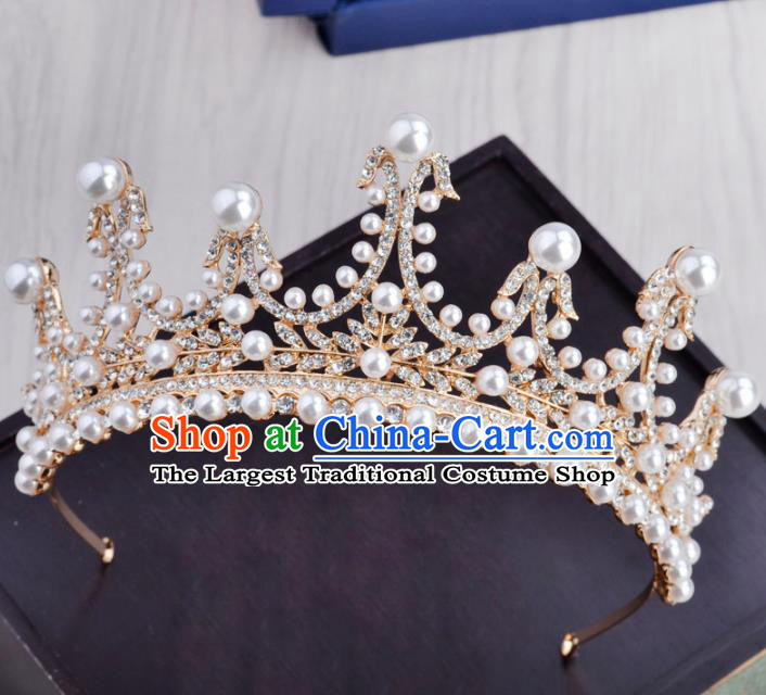 Handmade Baroque Bride Pearls Royal Crown Wedding Hair Jewelry Accessories for Women