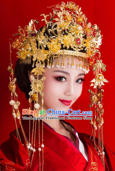 Chinese Ancient Handmade Hairpins Bride Golden Tassel Phoenix Coronet Hair Accessories Complete Set for Women
