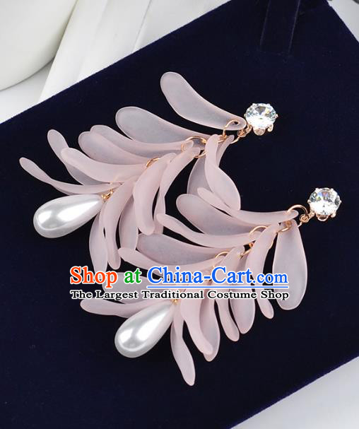 Top Grade Handmade Jewelry Accessories Bride Pink Pearl Earrings for Women