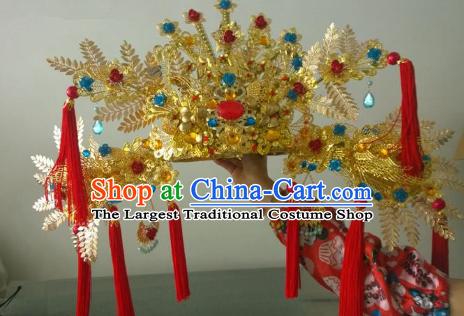 Chinese Ancient Handmade Empress Red Tassel Phoenix Coronet Hair Accessories Headwear for Women
