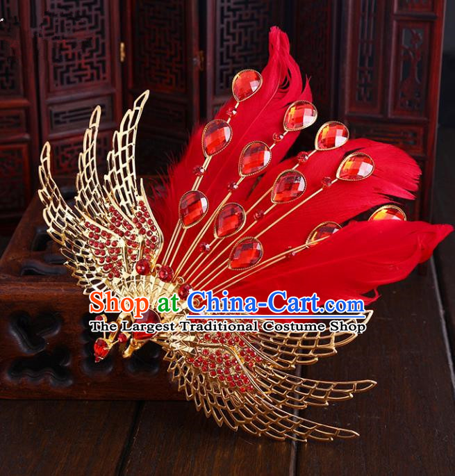 Chinese Ancient Handmade Red Feather Phoenix Hair Comb Hairpins Bride Hair Accessories Headwear for Women