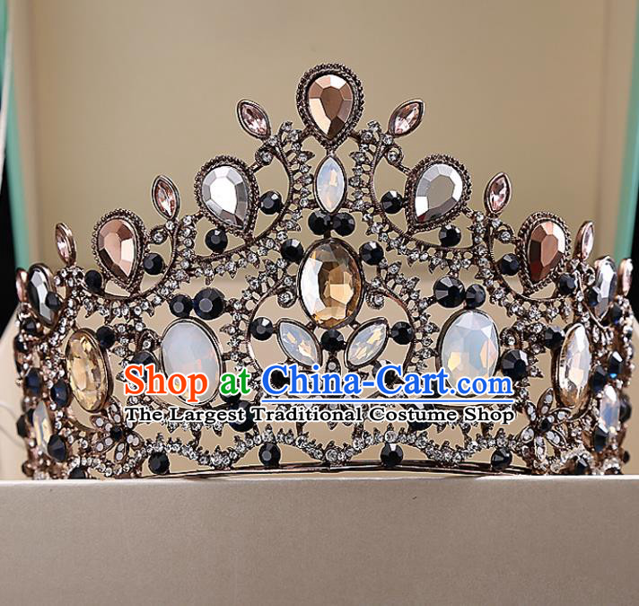 Top Grade Handmade Baroque Bride Opal Royal Crown Wedding Hair Jewelry Accessories for Women