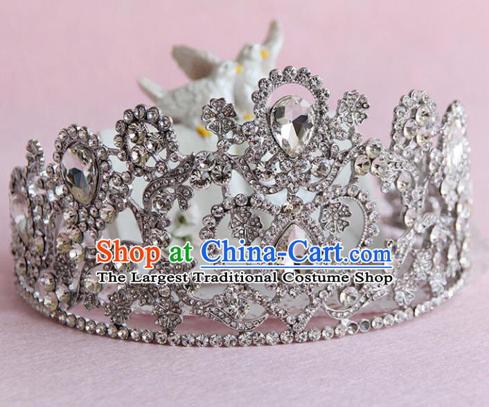 Top Grade Handmade Baroque Crystal Royal Crown Wedding Bride Hair Jewelry Accessories for Women