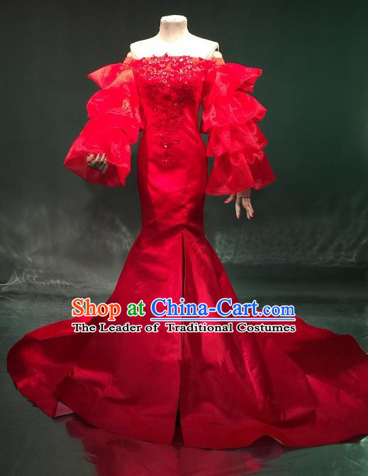 Top Grade Catwalks Costume Stage Performance Model Show Red Trailing Dress for Women