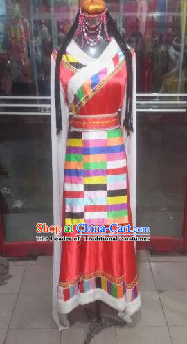 Chinese Traditional Tibetan Folk Dance Costume China Zang Nationality Red Dress for Women