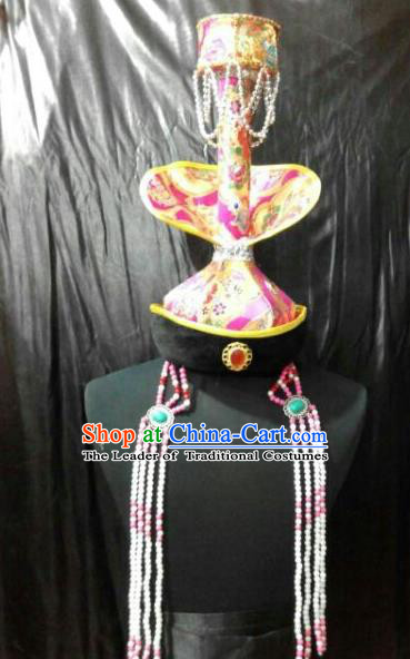 Chinese Traditional Mongolian Princess Hats China Mongol Nationality Headwear for Women