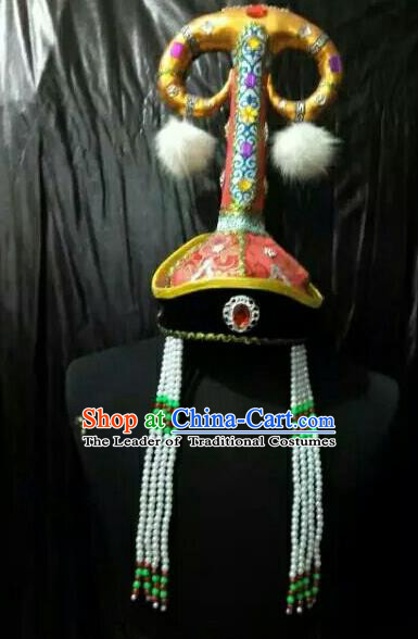 Chinese Traditional Mongolian Bride Hats China Mongol Nationality Wedding Headwear for Women