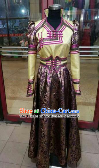 Chinese Traditional Mongolian Bride Costume China Mongol Nationality Folk Dance Brown Dress for Women