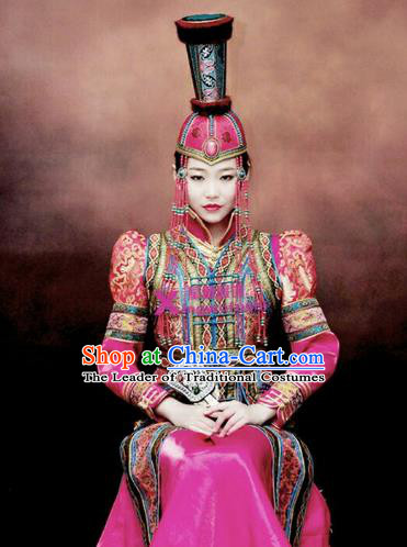 Chinese Traditional Mongolian Bride Costume China Mongol Nationality Wedding Dress and Hat for Women
