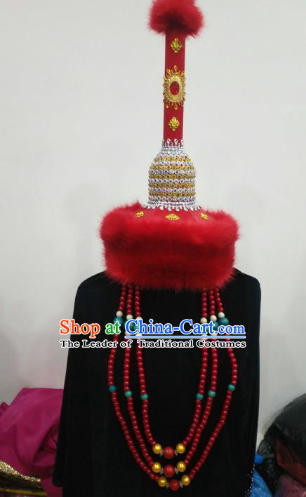 Chinese Traditional Mongolian Princess Red Fur Hats Mongol Nationality Hair Accessories Folk Dance Headwear for Women