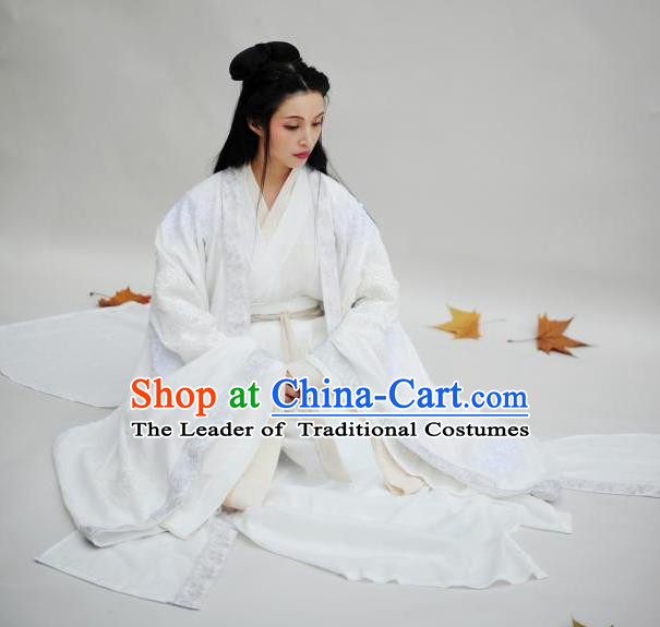 Traditional Chinese Ancient Imperial Concubine Embroidered Costume Jin Dynasty Palace Queen Hanfu Dress for Women