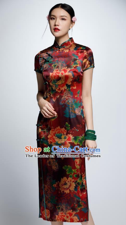 Chinese Traditional Printing Peony Silk Cheongsam China National Costume Qipao Dress for Women