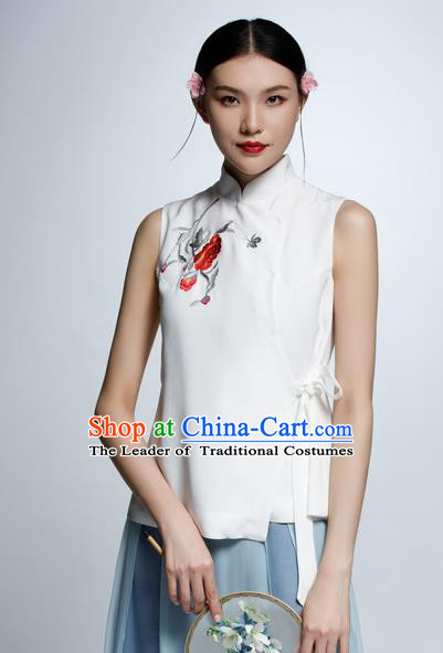 Chinese Traditional Costume Embroidered White Cheongsam Blouse China National Upper Outer Garment Shirt for Women