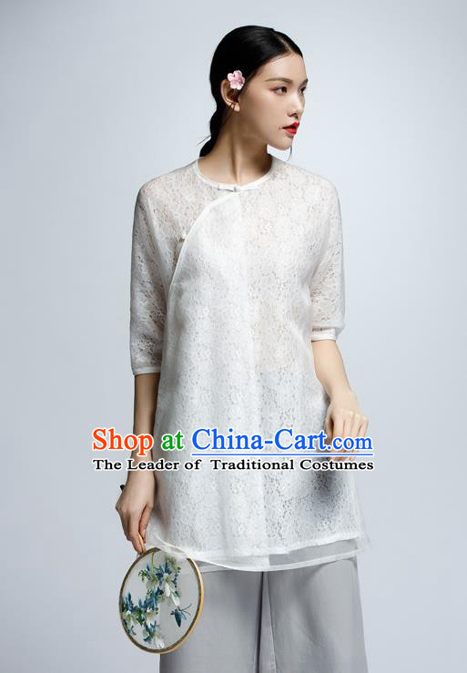 Chinese Traditional Costume Lace Cheongsam Blouse China National Upper Outer Garment Shirt for Women