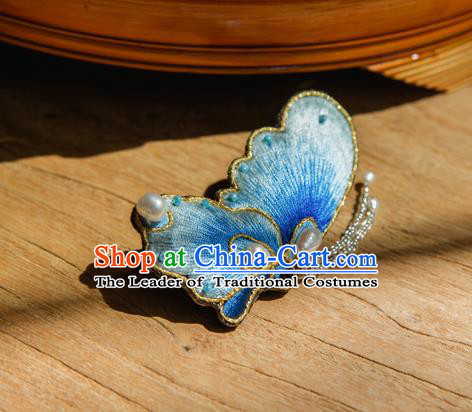 Chinese Traditional Cheongsam Accessories Embroidered Blue Butterfly Brooch for Women