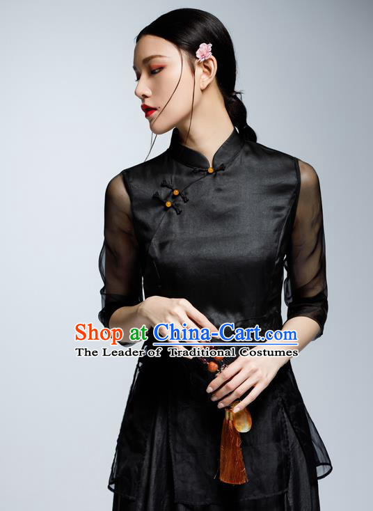 Chinese Traditional Costume Black Cheongsam Blouse China National Upper Outer Garment Shirt for Women