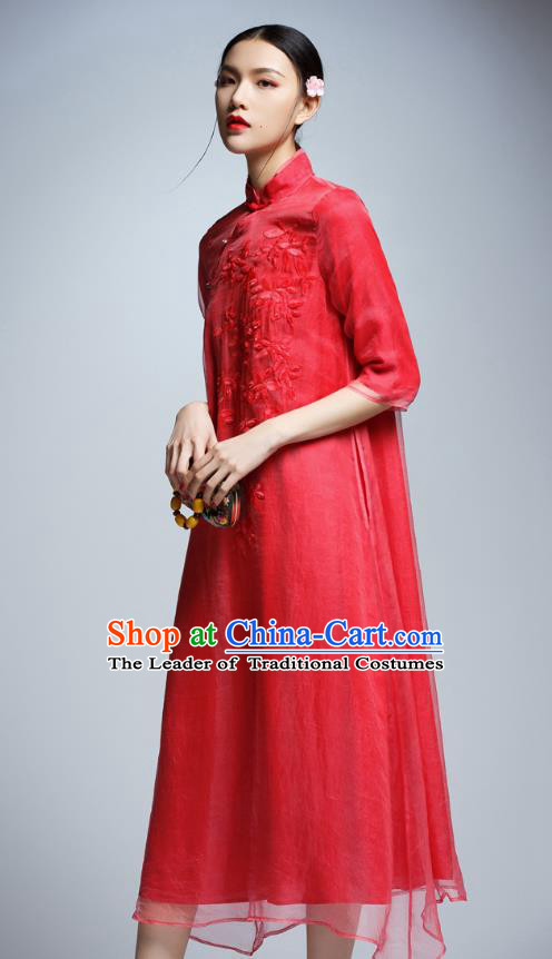 Chinese Traditional Embroidered Red Silk Cheongsam China National Costume Tang Suit Qipao Dress for Women