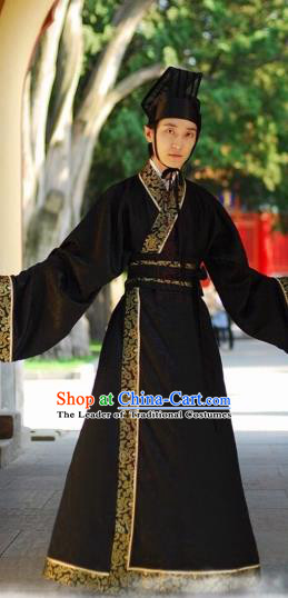Chinese Ancient Han Dynasty Scholar Swordsman Embroidered Costume for Men