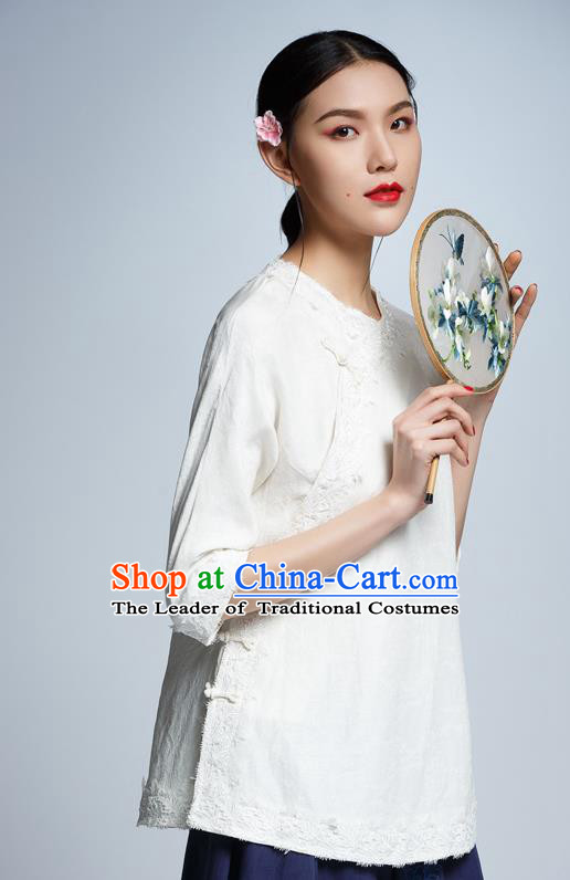 Chinese Traditional Costume White Lace Cheongsam Blouse China National Upper Outer Garment Shirt for Women